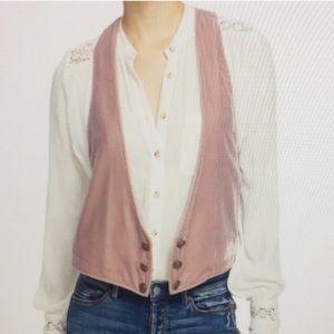 FREE PEOPLE Pink Velvet Vest